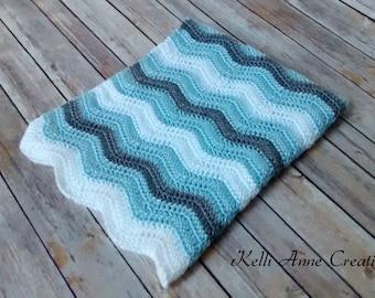 Crochet Baby Blanket, Baby Boy Blanket, Blue and Gray Baby Blanket, Crochet Blue Gray Blanket, Ripple Blanket, Photo Prop, Baby Shower Gift