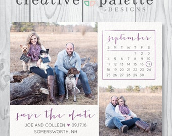 Simple Rustic Save the Date Magnet and Envelopes