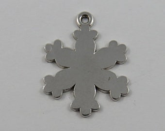 Snowflake Sterling Silver Charm or Pendant.