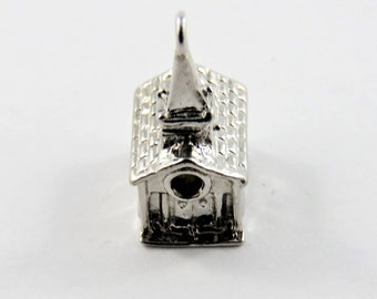 Small Church  When You Look in Window You Can Read Lords Prayer Sterling Silver Charm or Pendant.