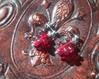 Red leaves, lampwork glass bead and silver stud earrings