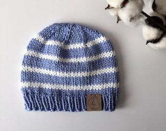 Baby Knit Hat//Baby Boy Beanie//Blue & White Baby Hat//Newborn Beanie//Striped Baby Hat//Baby Shower Gift//Photo prop//Baby Boy Gift