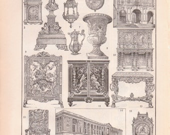 Antique French Furniture and design Print - French Louis print From 1907