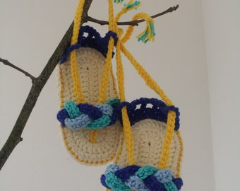 Crochet PATTERN - Aquamarine flip flops pattern.