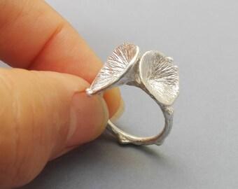SeaWeed Ring,  Sterling Silver ring, Organic Jewelry,   Nature Ring, Statement ring, Organic Ring,  925 Silver Jewelry, Organic Silver Ring