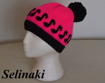 Knit Music Notes Hot Pink Hat Beanie with Pom Pom