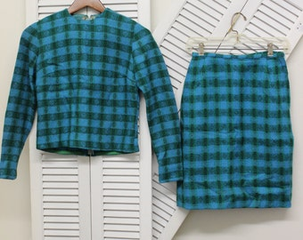 VTG One of a Kind Wool Skirt Set circa 1960's by Carmela Mahoney/Original Design/Blue & Green Plaid/Mod/Mid-century/Size Small/Tailored