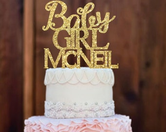 Baby Girl Cake Topper - Baby Shower Cake Topper - Girl Cake Topper -  Girl Baby Shower - Gold Baby Shower Cake Topper - Baby shower ideas