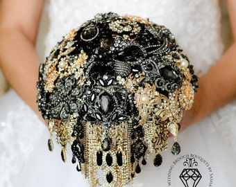 Brooch Bouquet, Wedding Bouquet, Black Bouquet, Gold Bouquet, Jewelry Wedding, Jewelry Bouquet, Bridesmaids Bouquet, Bridal Bouquet, Bouquet