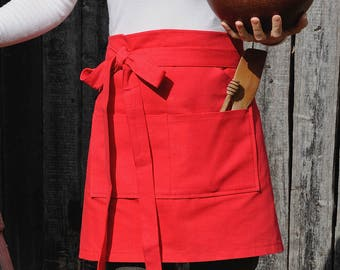 apron Red Cafe apron Natural Cotton Apron Half apron gift Chef apron Baking Apron Kitchen Apron pockets Womens gift Cooking gifts for cooks