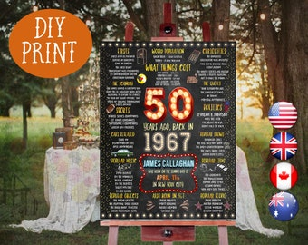 50th birthday gift for man - 1967 Birthday Chalkboard Poster, Personalized and Printable, American, Canadian, Australian & British, 005_50