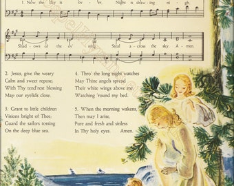 Now The Day Is Over, Vintage Lullaby Hymn Note Cards or Sheet Music Wall Art