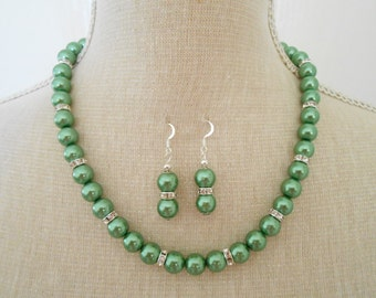 Handmade green set, green pearl set, green jewelry set, green pearl necklace, wedding necklace, green bridesmaid, bridesmaid gift