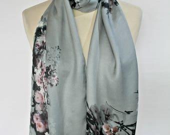 silvery grey Italian pur silk scarf