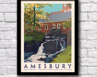 Amesbury, MA,Pow Wow River Falls, Hometown, Nautical coordinates, Genuine Giclee Poster on Archival Matt Paper by Leslie Alfred McGrath