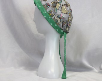 Mint Green Owls Surgical Scrub Cap Chemo Dental Hat