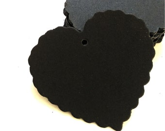 Black Kraft Tags w/ Strings /Gift Tags /Hang Tags/ Price Tags/ Party Name Tags/ Favor Tags/ Packaging Tags /Paper Tag / Heart 50pcs