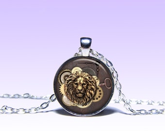 Steampunk Lion Pendant NECKLACE Jewelery Charm Pendant for Him or Her