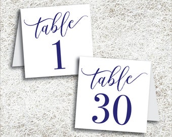 Printable Navy Tented Table Numbers 1 - 30   Instant Download   Printable Wedding Table Numbers   Tent Folded Navy Blue Numbers (FROST Set)
