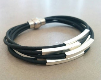 Leather Bracelet, womens leather bracelet , Leather Silver Bracelet, Black leather bracelet, Beige leather bracelet, Silver Tube Bracelet