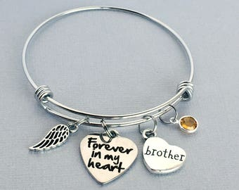 Brother Memorial Bracelet, Forever in my Heart, Memorial Jewelry, Remembrance Jewelry, In Memory of Brother, Loss of Brother, Sympathy Gift