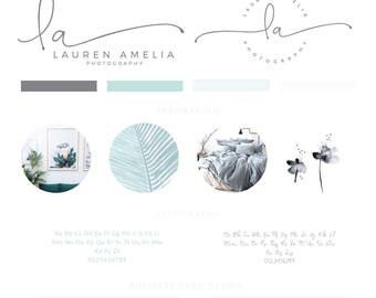 Branding kit watercolor Logo Design Premade Branding Package- watermark- submark- stamp- business logo Golden foil branding blue peach chic