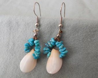 Earrings Turquoise and Shell.   Stock #(1638).