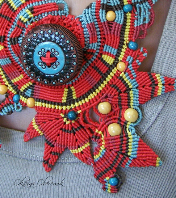 OOAK Macrame necklace Red necklace Colorful necklace Button necklace