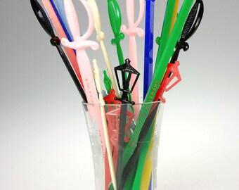 Lot of 25 Mid Century Plastic Swizzle Stir Stick Sword Lamp Sheraton Blackstone