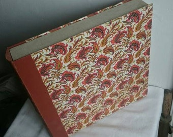 Vintage Vinyl LP Record Storage Folder, Retro Paisley Hard Cover Organiser Box,