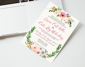 Watercolor Floral Wedding Invitation, Printable wedding invitation, Floral Wedding Invitation Printable, Wedding invitation template
