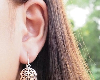 Rose gold plated Flower of Life Drop Earrings, 925 Sterling Silver,Dangle Earrings, Symbolic Earrings, Bohemian Earrings - MI.21