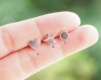 Geometric Stud, Star Earrings, Heart Earrings, Disc Circle Earrings, 925 Sterling Silver, Gift for Woman / SB197-199