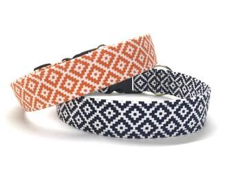 Navy Aztec Dog Collar, geometric dog collar, boho dog collar, navy dog collar, blue dog collar