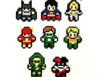 Tiny 8-Bit DC Super Hero Justice League Magnets: Choose from Batman, Superman, Wonderwoman, the Flash, Green Lantern & more.