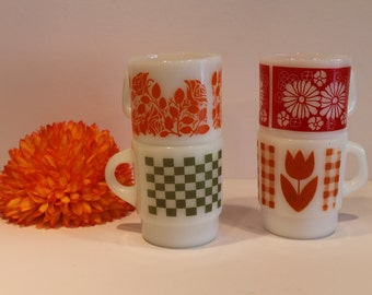 Set of Vintage Fire King Coffee Mugs - Vintage Mugs - Floral Milk Glass Mugs