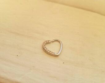 Diamond daith piercing heart