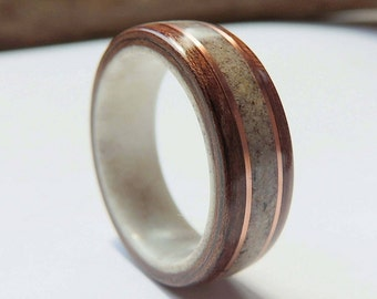 bentwood ring on antler linerblack walnut and deer antler with copperwooden wedding - Deer Antler Wedding Rings