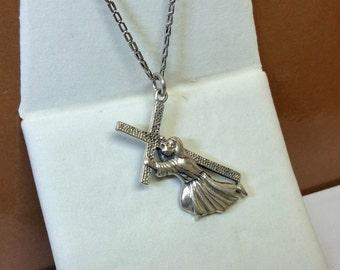 Pendant in Silver 925 Jesus with cross vintage SK696