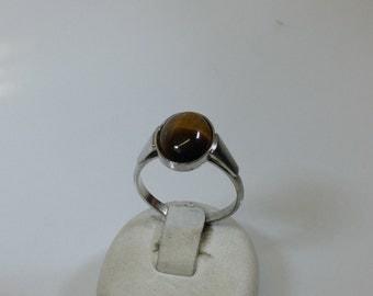 15.3 mm ring silver 835 Tiger eye vintage SR563