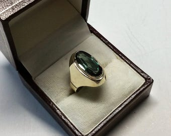 Ring gold 333 tourmaline green elegance vintage GR287