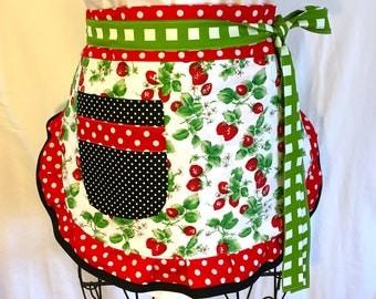 Reversible Strawberry Apron, Springtime in Paris Apron, Women's Apron, White, Red, Green, Black