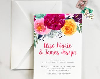 Colorful Floral Save the Date, Floral Save the Date, Frida Kahlo Save the Date, Spanish Save the Date, Vibrant Save the Date - DEPOSIT
