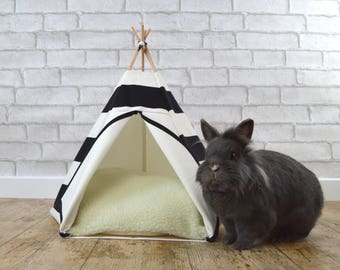Rabbit bed teepee with pillow -  large stripes pattern - black & white