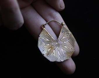 Geometric Bronze Earrings - Tribal - Ethnic - Sacred Geometry - Handmade - Design - Boho - Original