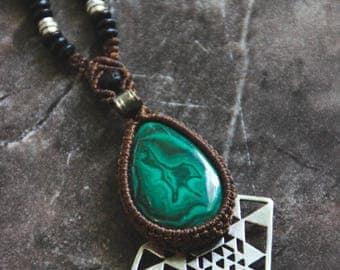 Malachite Sri Yantra Mala Style - Tribal - Ethnic - Boho - Gypsy - Travel - Festival - Original - Design - Pixies - Fairy - Industrial