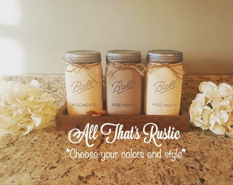 Set of 3 Mason Jar Canisters, Mason Jar Canisters, Canister Set, Canister Jars, Painted Mason Jars, Rustic Home Decor, Kitchen Decor, Gifts