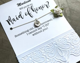 Will you be my maid of honor NECKLACE, Bridal party giftsAsking gift, Bridesmaid proposal, ask bridesmaid, Monogram necklace, B29a