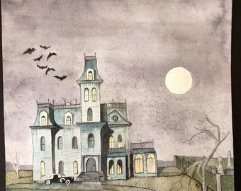 Addams Family House Watercolor Painting
