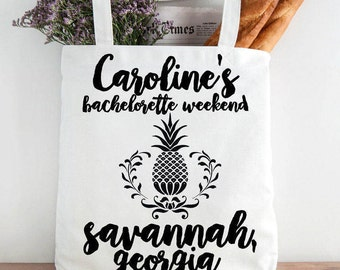 Custom Savannah Bridesmaid Totes Pineapple Design, Custom Bachelorette Party Tote, Bride's Tote